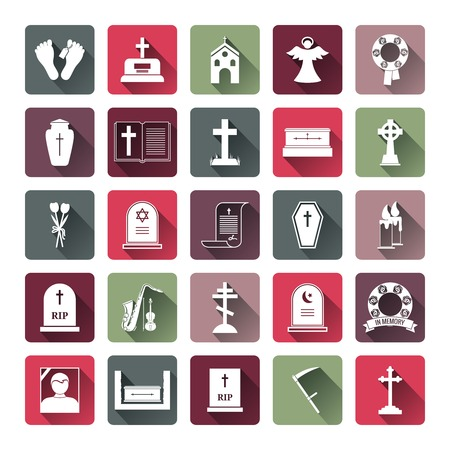 crypt: Colored Funeral Icon Set