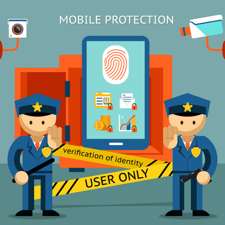Mobile phone protection. Financial security and data confidentiality Vector
