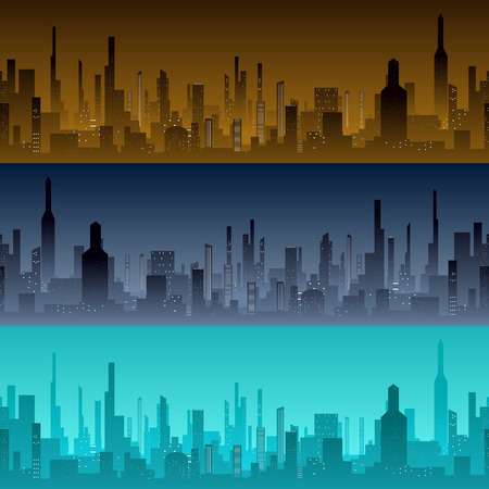 commercial real estate: Cityscape backgrounds. City in the morning, evening and night