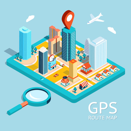 small: GPS route map. City navigation app