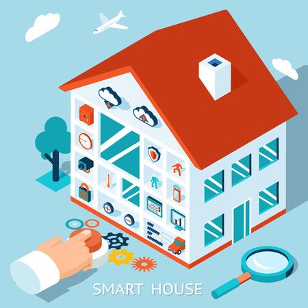 Vector 3d concepto de hogar inteligente. Botón de control Casa