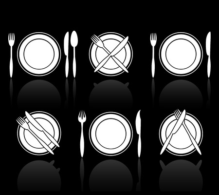 fork knife: Fork, knife and spoon icons Illustration