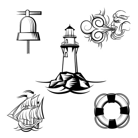 Sea design elements Vector