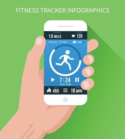 Fitness app on mobile phone in hand Illustration