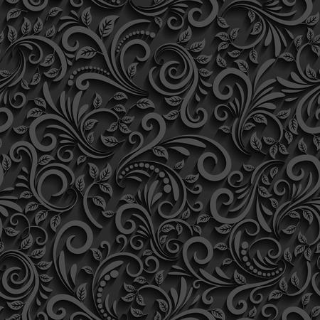 Vector Schwarz floral nahtlose Muster mit Schatten für Einladungskarten und Dekor