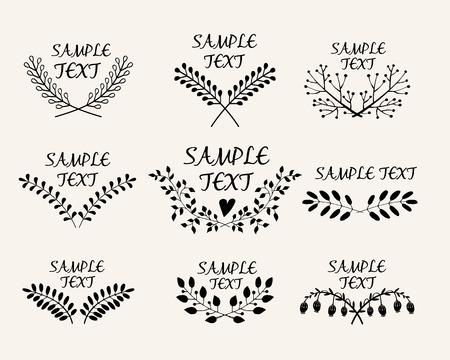 flexure: Hand drawn floral symmetric graphic design elements