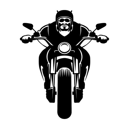 Biker icon. Man on a motorcycle Vector