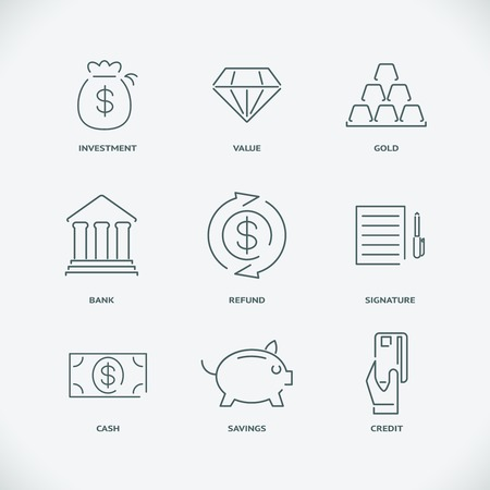 refund: Thin modern line finance icons Illustration