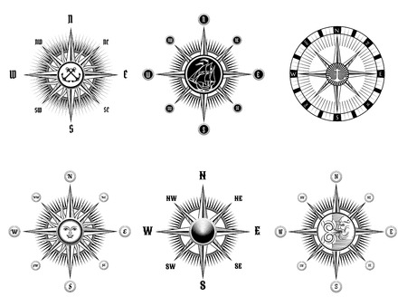 old compass: Vintage nautical or marine compass icons