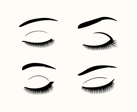 Vector eyelashes and eyebrows silhouettes