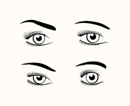 cilia: Woman eye silhouettes