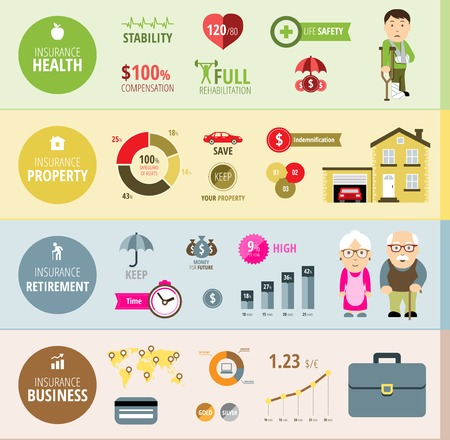 retirement home: Insurance infographic banners