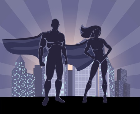 male female: Superhero and female superhero silhouettes