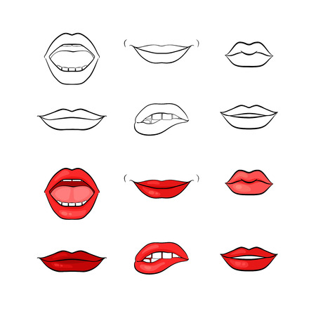 red paint: Vector woman lips and mouth silhouettes Illustration