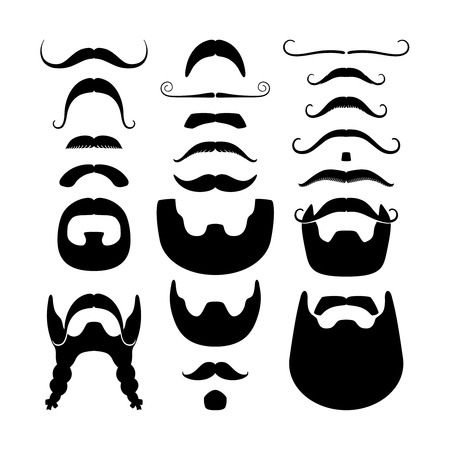 Moustaches and beards silhouettes icons