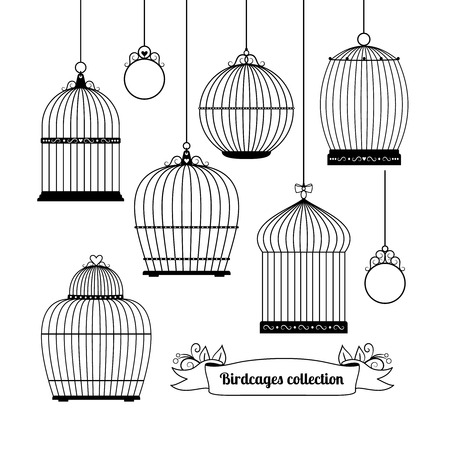 bird cage: Birdcages silhouettes Illustration