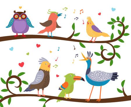 coro: Los pájaros cantores en las ramas de los árboles