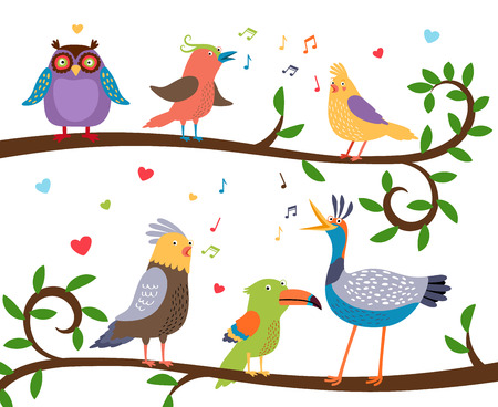 knowledge clipart: Singing birds on tree branches