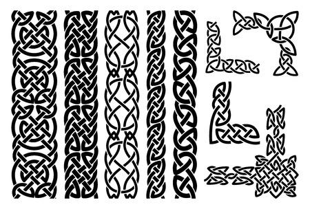 nudo: Patrones celtas y celtas esquinas ornamento Vectores