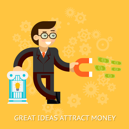 attract: Great ideas attract money. Businessman holding magnet attracting money