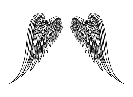 Hand drawn angel wings Vettoriali