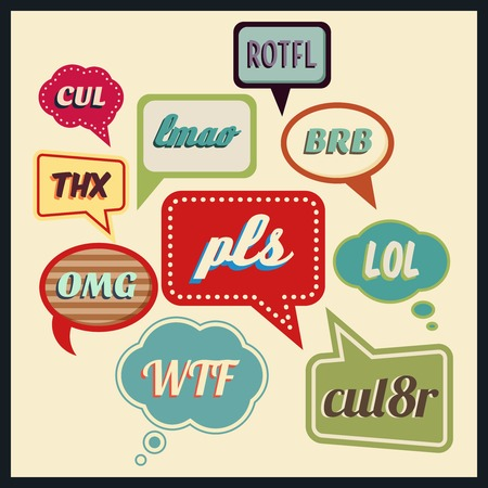 frequently: Speech bubbles with frequently used abbreviations