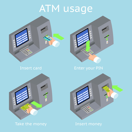usage: ATM terminal usage. Payment with credit card, take and insert cash