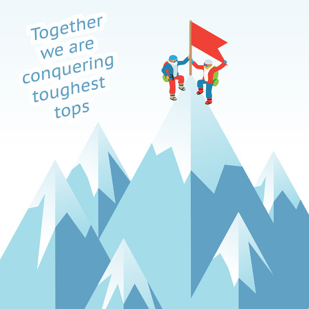 achievement concept: Synergy concept. Business mountain climbing in partnership