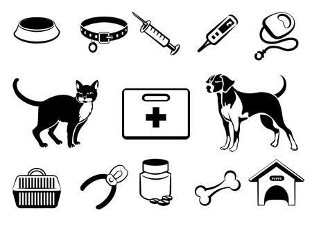 silueta de gato: Animales medicina veterinaria iconos Vectores