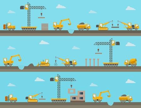 vertedero: Fondo transparente de vector horizontal con iconos de la construcci�n