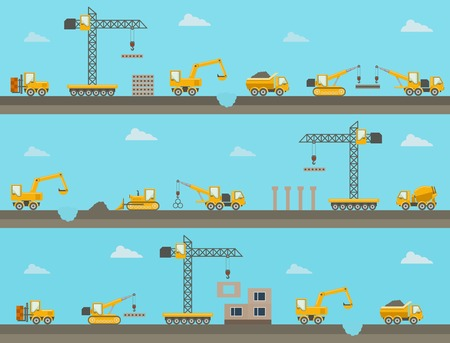 heavy construction: Vector seamless horizontal  background with construction icons Illustration