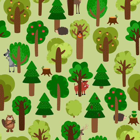 of beaver: Forest seamless pattern with trees and animals. Wolf, wild boar, hedgehog, squirrel