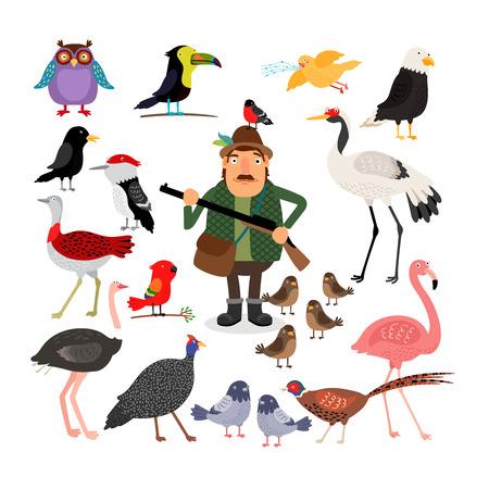 cazador: Fowling. Las aves y Hunter ilustración vectorial