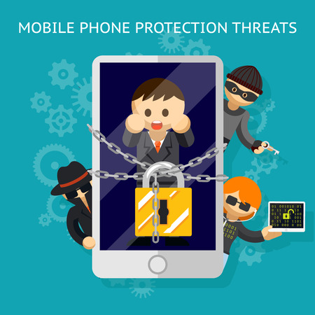 protection gear: Mobile phone protection threats. Security against of hacking attempts