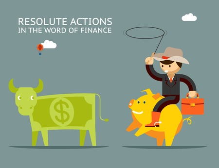 lasso: Fundraising concept. Businessman on pig catches money