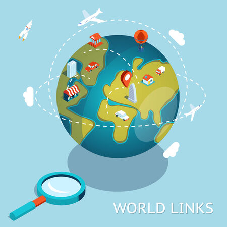 travel concept: World Links. Global communication via aircraft and cars