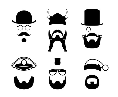 Silhouettes parts of face. Mustache, beard, hair. Viking, captain, gentleman Vector