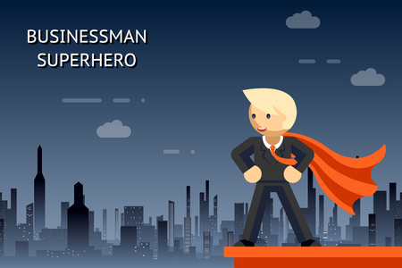 heroes: Businessman superhero over night city Illustration