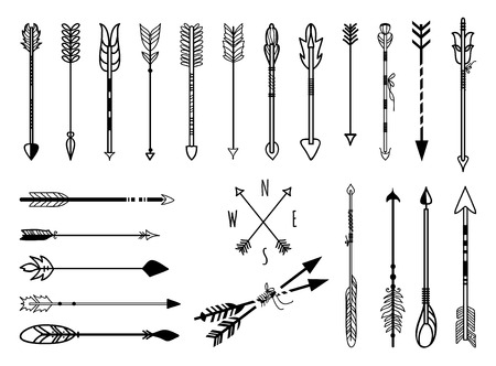 indian weapons: Hand drawn arrows set Illustration