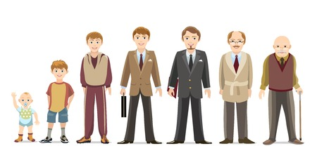 caucasian man: Men generations Illustration