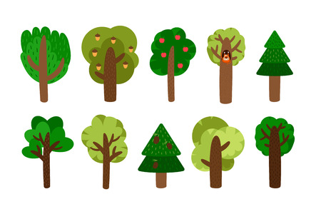 pine green: Vector trees clip art