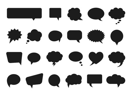 Talk and think vector comics bubbles silhouettes