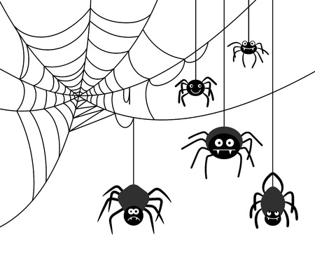 cartoon bug: Spider on cobweb Illustration