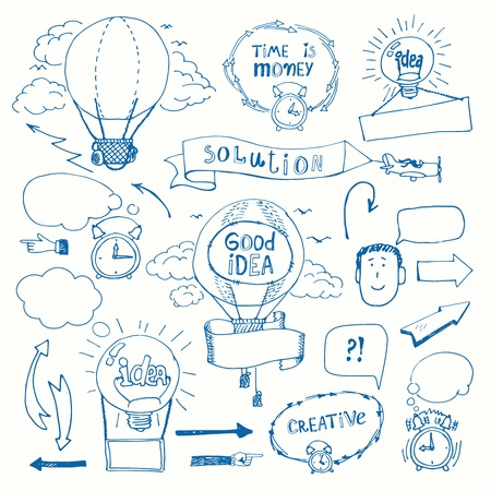 creative work: Creative doodles thinking concept