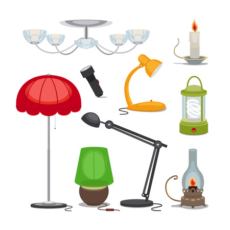 lamp shade: Lamps and lights. Vector chandelier, flashlight, candle