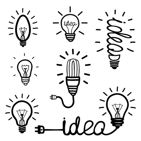 light rays: Hand drawn light bulb icons Illustration