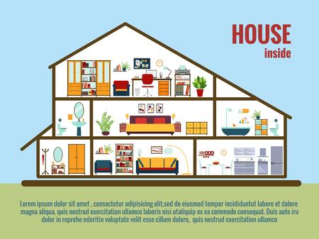cutaway drawing: Vector house interior Illustration