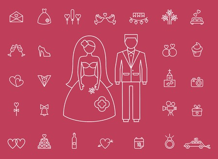 marriage bed: Marriage bridal icons in modern line style Illustration