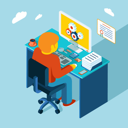 Workplace. Working at computer. Flat 3d isometric design Фото со стока - 36674442