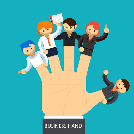the leader: Business hand. Open hand with employee on fingers. Management concept